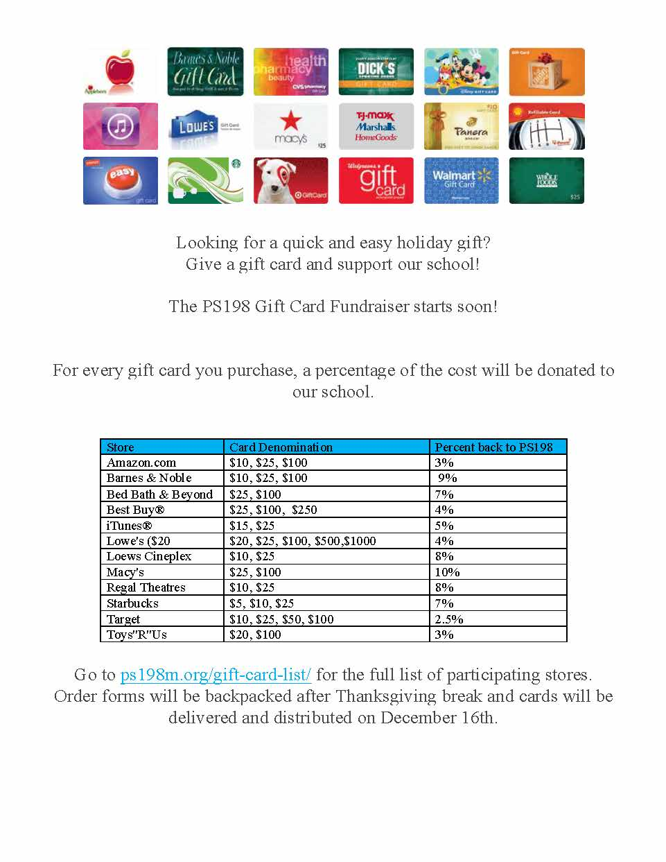 Get your GiftCards from PS198! | PS198M The Straus School